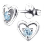 Heart & Sky Blue Topaz Sterling Silver Stud Earrings